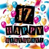 17th Urodzinowy świętowanie z złocistymi balonami ilustracja wektor