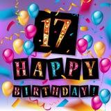 17th Urodzinowy świętowanie z złocistymi balonami ilustracji