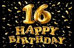 16th Urodzinowy świętowanie z złoto balonami i kolorowymi confetti, błyskotliwość 3d Ilustracyjny projekt dla twój kartka z pozdr Zdjęcie Stock
