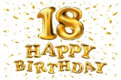 18th Urodzinowy świętowanie z złoto balonami i kolorowymi confetti, błyskotliwość 3d Ilustracyjny projekt dla twój kartka z pozdr Obraz Stock
