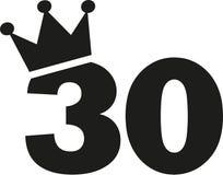30th urodziny liczby korona Zdjęcie Royalty Free