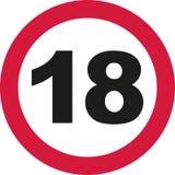18th urodziny - ruchu drogowego znak Obrazy Stock