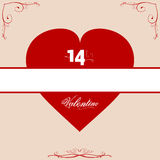 14th Valentine red heart with floral frame Royalty Free Stock Image
