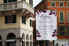 50th Vinitaly wine exhibitions in Verona - Italy. 50th Vinitaly flag wine exhibitions in Verona - Italy. the most important wine exhibitions in the world stock images