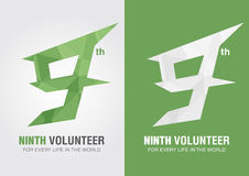 9th Volunteer icon symbol from an alphabet letter number 9. Nine creative Stock Image