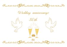 50th wedding  anniversary card for greetings and writing text ve. Ctor illustration EPS 8 Stock Photos