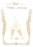 50th Wedding anniversary Invitation. Beautiful editable vector illustration Stock Image