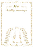 50th Wedding anniversary Invitation beautiful editable vector illustration. Beautiful card for an invitation to a celebration on the occasion of the fifty Stock Images