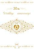 30th Wedding anniversary Invitation beautiful editable vector illustration Royalty Free Stock Photos