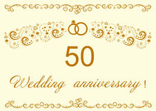 50th Wedding anniversary Invitation.Beautiful il. Lustration royalty free illustration