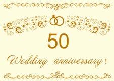 50th Wedding anniversary Invitation.Beautiful   il Royalty Free Stock Images