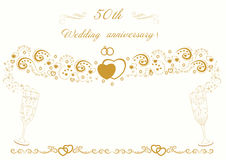 50th Wedding anniversary Invitation. Beautiful illustration stock illustration