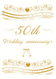50th Wedding anniversary Invitation   illustration. 50th Wedding anniversary  beautiful  Invitation   illustration Royalty Free Stock Photo