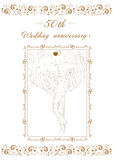 50th Wedding anniversary Invitation. Two elephants illustration and scalable illustration royalty free illustration
