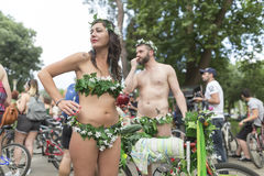 8th World Naked Bike Ride. Royalty Free Stock Images