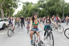 8th World Naked Bike Ride. Stock Images