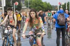 8th World Naked Bike Ride. Stock Photos