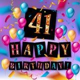 41th wszystkiego najlepszego z okazji urodzin karta Obraz Stock