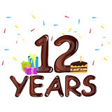 12th year anniversary celebration design, with gift box. Vector illustration Royalty Free Stock Image