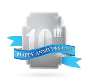 10th year anniversary silver shield illustration. Design over white Royalty Free Stock Photography