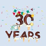 30th Year birthday celebration card Royalty Free Stock Photo