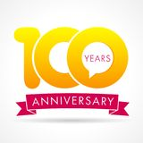 100 years anniversary communication logo. 100th year birthday logotype label, yellow vector number sign and pink ribbon isolated Stock Photography