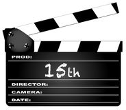 15th Year Clapperboard. A typical movie clapperboard with the legend 15th on white Vector Illustration