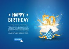 50 th years anniversary banner with open burst gift box. Template fiftieth birthday celebration and abstract text on blue