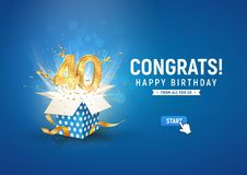 40 th years anniversary banner with open burst gift box. Template fortieth birthday celebration and abstract text on blue