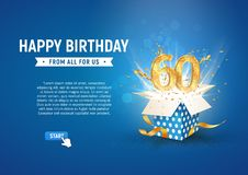 60 th years anniversary banner with open burst gift box. Template sixtieth birthday celebration and abstract text on blue