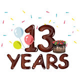 13th years anniversary card. With ballons. Vector illustration Royalty Free Stock Images