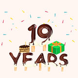19th years anniversary card. Happy birthday. Vector illustration Royalty Free Stock Photos