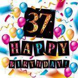 37th Years Anniversary Celebration Design. Balloons and ribbon, Colorful design elements for banner, invitation, greeting card your thirty seven birthday Royalty Free Stock Photo