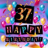 37th Years Anniversary Celebration Design. Balloons and ribbon, Colorful design elements for banner, invitation, greeting card your thirty seven birthday Royalty Free Stock Photos