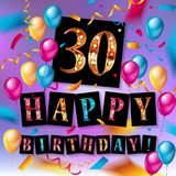 30th Years Anniversary Celebration Design. Balloons and ribbon, Colorful design elements for banner, invitation, greeting card your thirty birthday celebration Royalty Free Stock Images