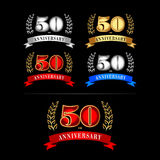 50th Years Anniversary Celebration Design template set. Isolated design. Silver, blue, gold, red versions. 50th Years Anniversary Celebration Design template set vector illustration