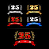 25th Years Anniversary Celebration Design template set. Isolated vector illustration design. Silver, blue, gold, red versions. Royalty Free Stock Photos