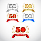 50th Years Anniversary Celebration Design template set on white background. Isolated vector illustration design. Silver, blue, gold, red versions Stock Photography