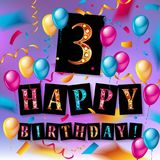3th years Anniversary Celebration. Birthday card or greeting card design with gift box and balloons, Colorful vector elements for the celebration party of two Stock Images