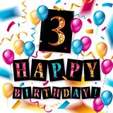 3th years Anniversary Celebration. Birthday card or greeting card design with gift box and balloons, Colorful vector elements for the celebration party of two Royalty Free Stock Images