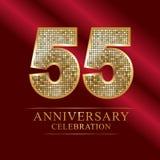 55th years anniversary logotype disco style. 55 years anniversary celebration logotype red background. Anniversary disco style royalty free illustration