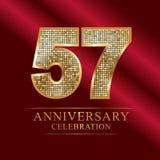 57th years anniversary logotype disco style. 57 years anniversary celebration logotype red background. Anniversary disco style royalty free illustration
