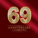 69th years anniversary logotype disco style.69. 69 years anniversary celebration logotype.70th years anniversary red ribbon and gold balloon on snow gray Royalty Free Illustration