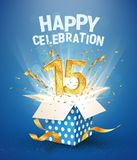 15 th years anniversary and open gift box with explosions confetti. Isolated design element. Template fifteenth birthday