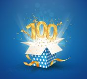 100 th years anniversary and open gift box with explosions confetti. Isolated design element. Template hundredth birthday