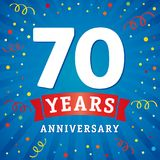 70 years anniversary logo celebration card. 70th years anniversary vector background with red ribbon and colored confetti on blue flash radial lines vector illustration