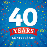 40 years anniversary logo celebration card. 40th years anniversary vector background with red ribbon and colored confetti on blue flash radial lines Stock Photo