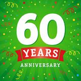 60 years anniversary logo celebration card. 60th years anniversary vector background with red ribbon and colored confetti on green flash radial lines Royalty Free Stock Image