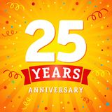25 years anniversary logo celebration card. 25th years anniversary vector background with red ribbon and colored confetti on yellow flash radial lines vector illustration