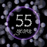55th years happy birthday anniversary card invitation diamonds number purple bokeh lights. Luxury Happy anniversary fifty five years old, numbers made from white Royalty Free Stock Photo